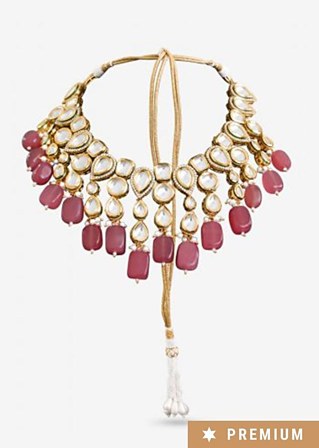 Gold Plated Choker Beautifully Hand crafted With Kundan And Elegant Semi-Precious Pink Stones By Prerto
