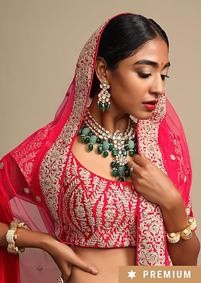 Gold Plated Statement Necklace Exquisitely Hand Crafted With Kundan And Semi Precious Green Stones By Prerto