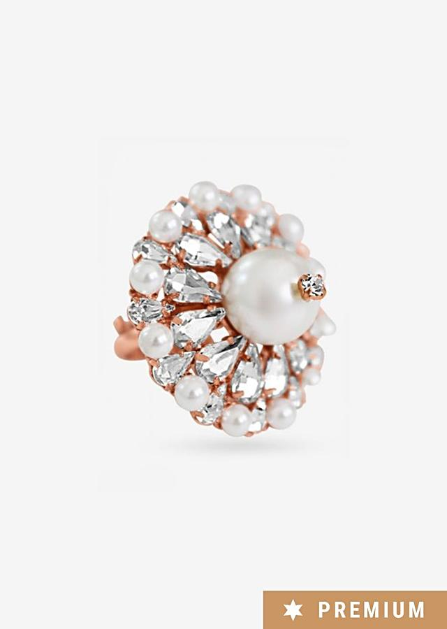 Rose Gold Ring With Sparkling Swarovski And Delicate Pearls By Prerto