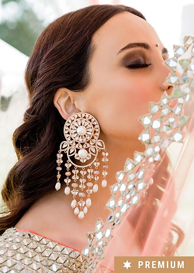 Rose Gold Earrings With Glinting Swarovski Crystals And Chinese Pearls In Round Motif And Dangling Fringes By Prerto