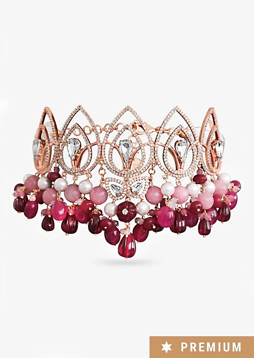 Gold Plated Choker With Gorgeous Semi-Precious Carved Pink Beads, Pearls And Glinting Swarovski By Prerto