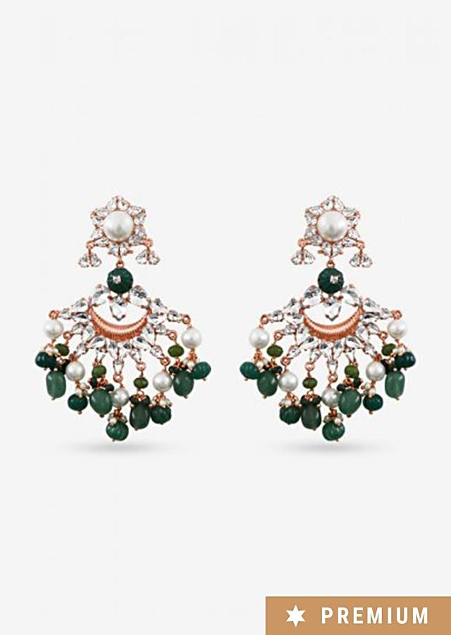 Gold Plated Earrings Frosted With Swarovski, Chinese Pearls And Carved Semi-Precious Green Beads By Prerto