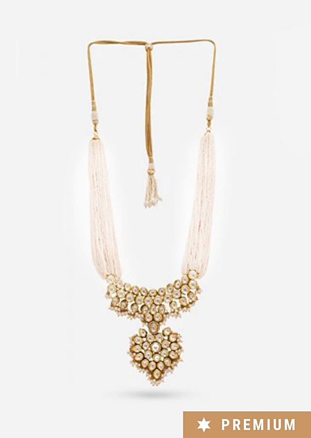 Gold Plated Necklace With Kundan Adorned Pendant And Pearl Strings By Prerto
