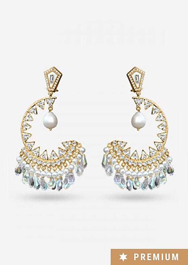 Gold Plated Earrings In Crescent Design With Dangling Pearls And Crystals By Prerto