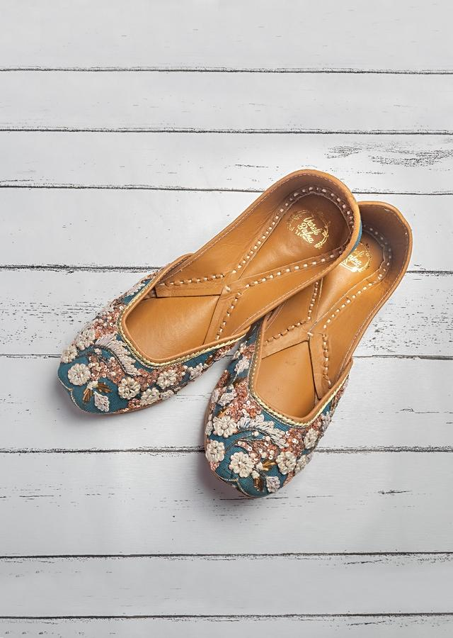 Teal Blue Juttis In Silk With French Knots, Dori And Badla Work In Floral Pattern By Vareli Bafna
