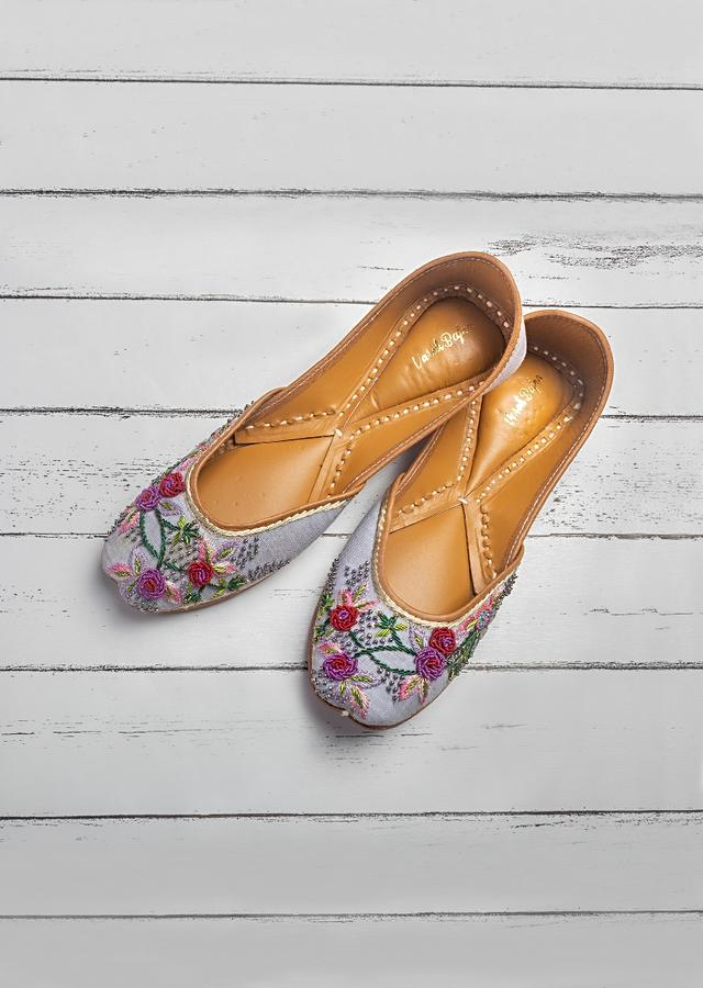Purple Juttis In Linen With Multi Color Zardozi And French Knots Work In Floral Design By Vareli Bafna