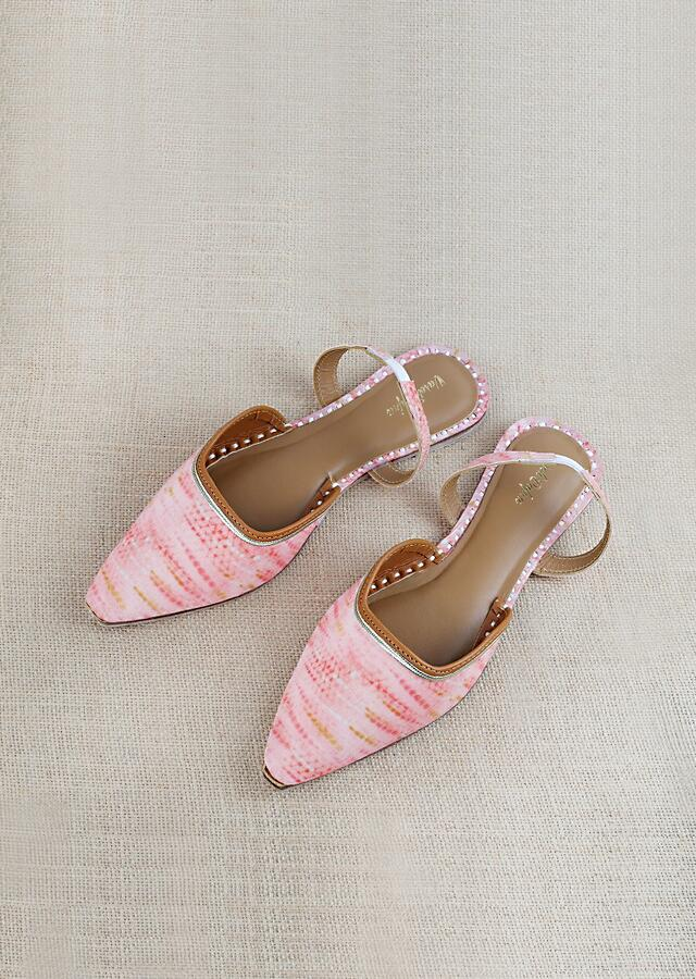 Peach Mules With Back Strap Featuring Tie And Die Khadi Bandhani Print And Braided Rose Gold Zari By Vareli Bafna