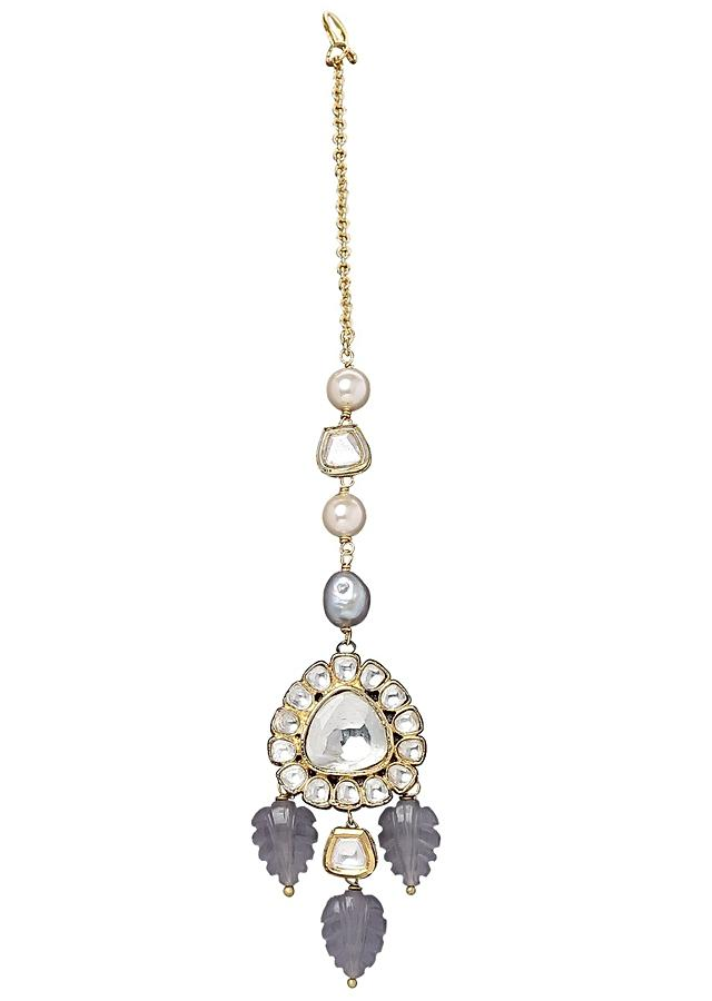 Maang Tikka With Grey Quartz Leaves And Kundan Online - Joules By Radhika