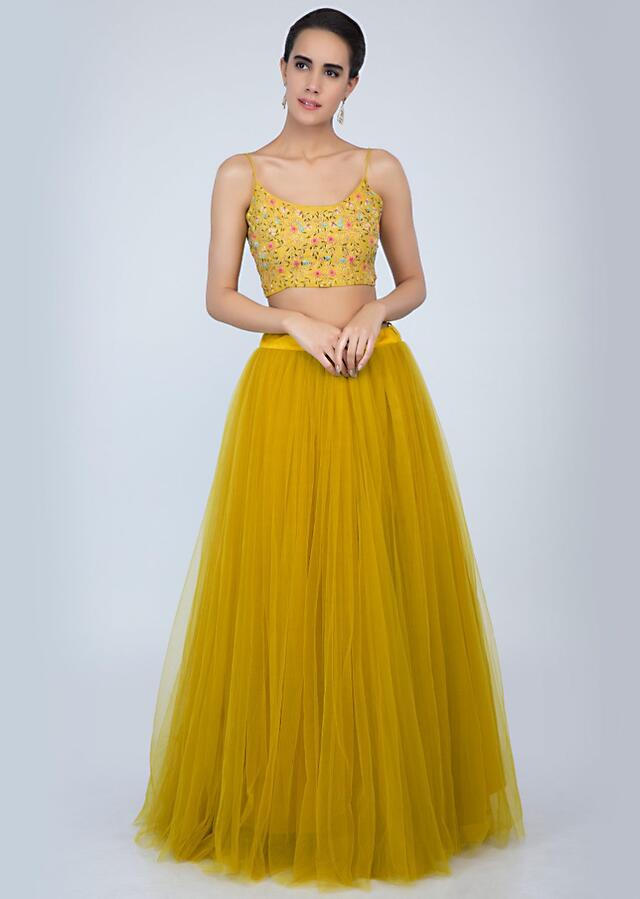 Madellion Yellow Lehenga In Net With Embroidered Crop Top And Frilled Net Dupatta Online - Kalki Fashion