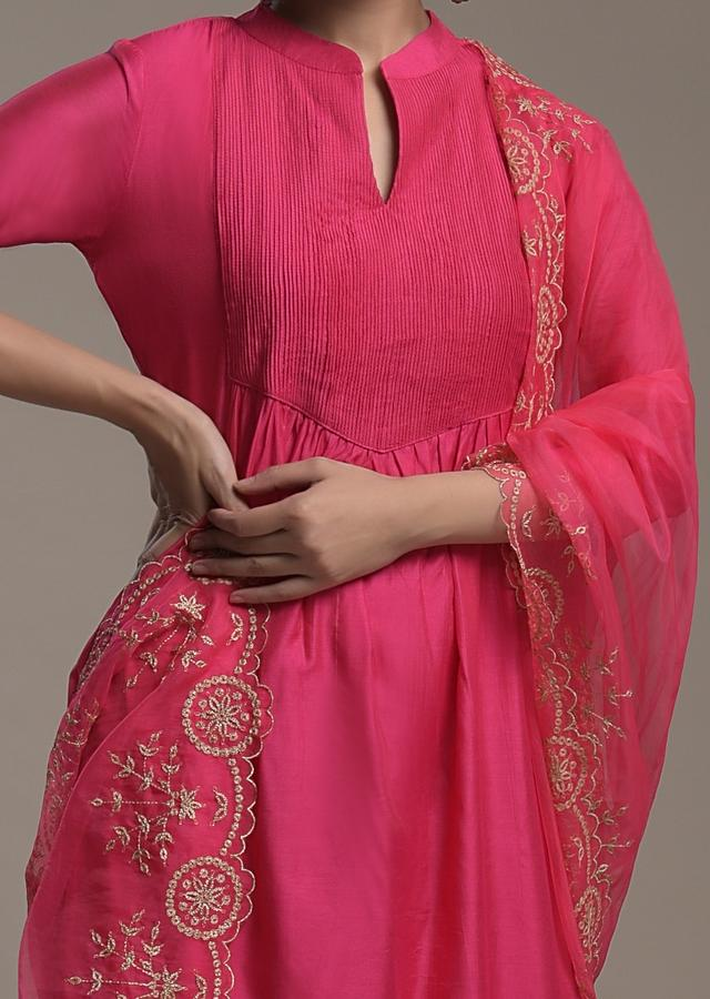 Magenta A Line Suit In Cotton With Pin Tucks Detailing And Teamed With A Zari Embroidered Organza Dupatta Online - Kalki Fashion