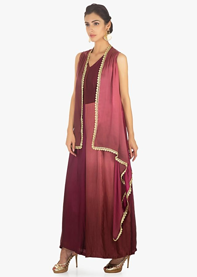 Magenta And Boysenberry Shaded Jacket In Satin With Scallop Border Online - Kalki Fashion