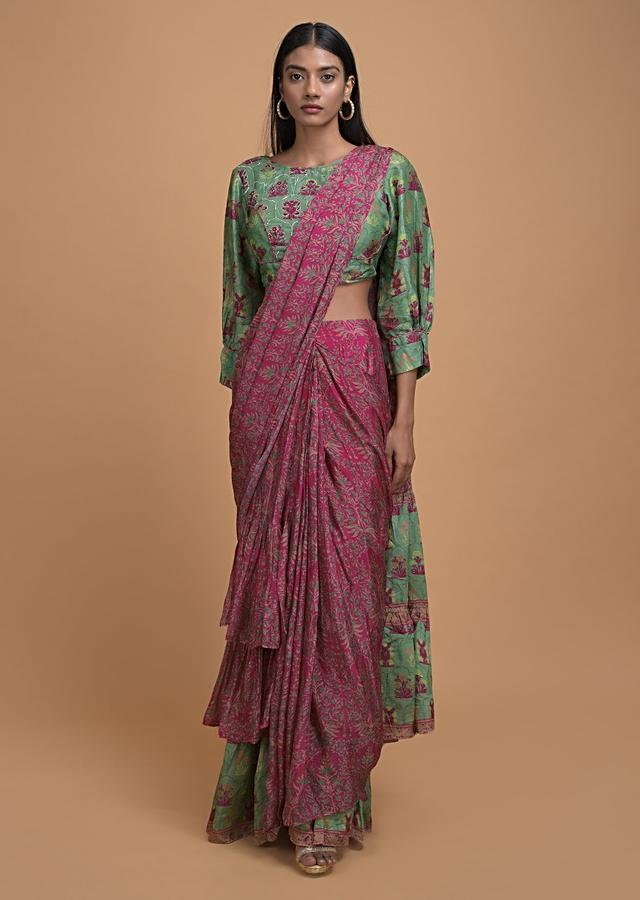Magenta And Green Ready Pleated Ruffle Saree In Crepe Enhanced With Floral And Moroccan Print Online - Kalki Fashion