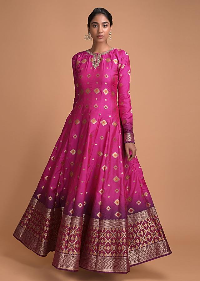 Magenta And Purple Ombre Anarkali Suit With Weaved Buttis And Embellished Neckline Online - Kalki Fashion