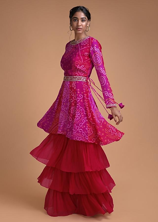 Magenta And Red Shaded Sharara Suit In Georgette With Bandhani Print And Embellished Belt Online - Kalki Fashion