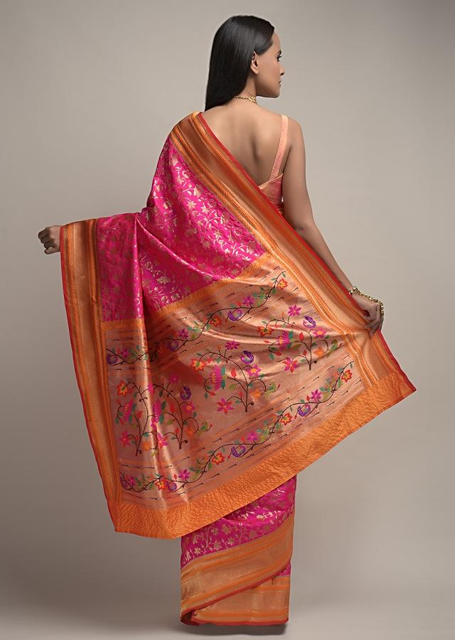 Magenta Banarasi Saree In Silk With Brocade Woven Floral Jaal And Contrasting Yellow Unstitched Blouse Online - Kalki Fashion