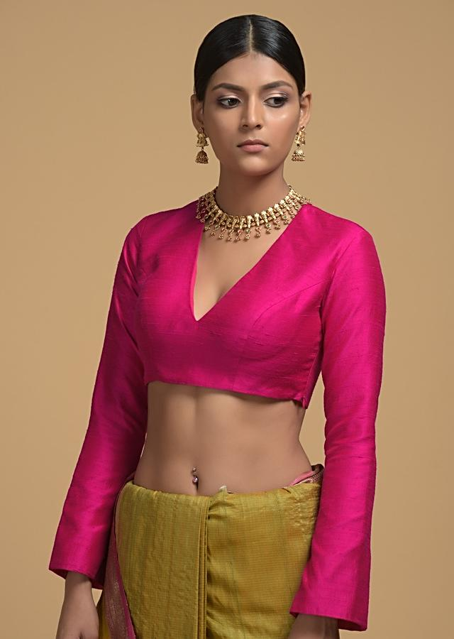 Magenta Blouse In Raw Silk WIth V Neckline And Full Sleeves Online - Kalki Fashion