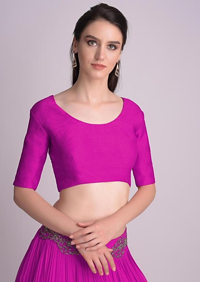 Magenta Blouse With Half Sleeves And Round Neckline  Online - Kalki Fashion