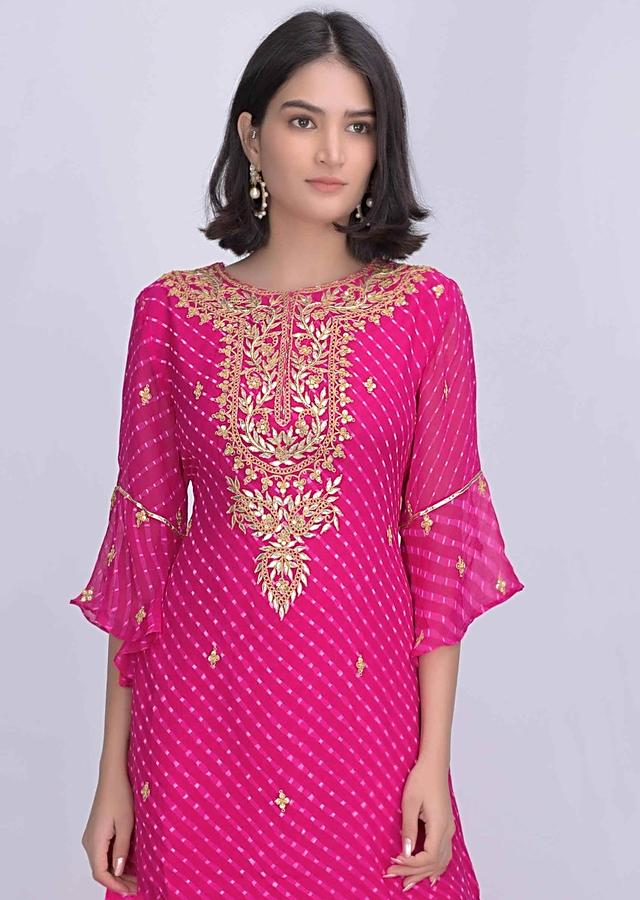 Magenta Sharara Suit In Chiffon With Lehariya Print Online - Kalki Fashion