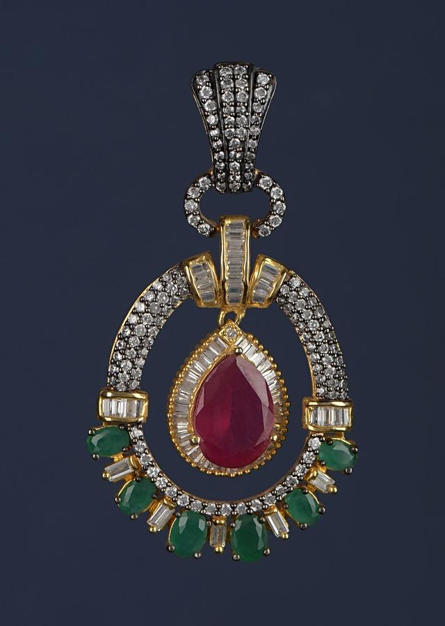 Magenta Drop Shaped Stone And Green Stone Studded Earrings In Oval Motif With Bugle Beads Online - Kalki Fashion