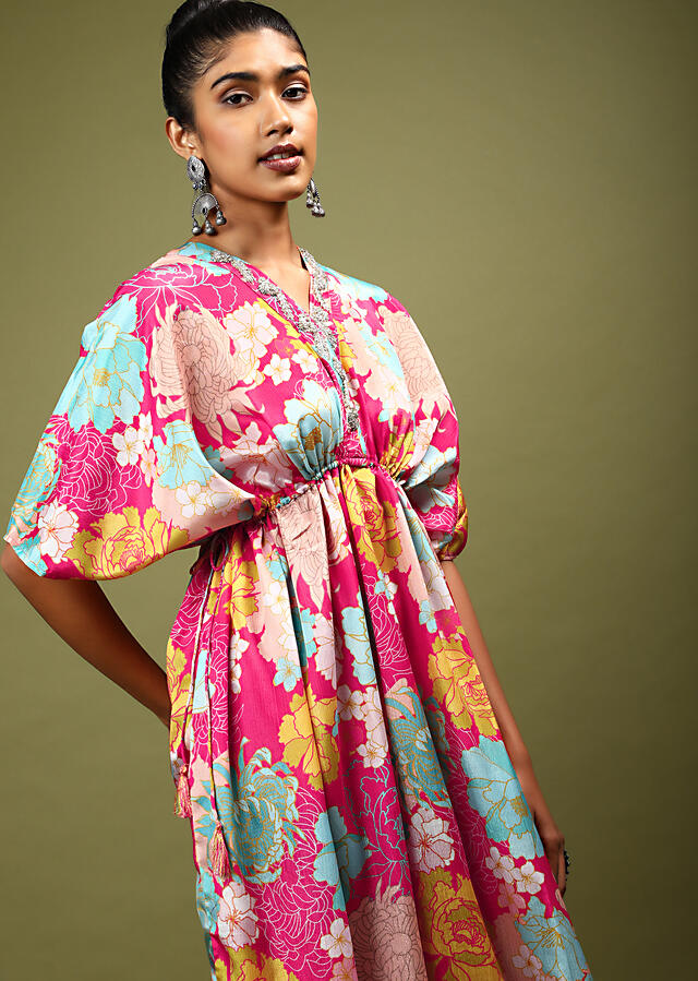 Magenta Kaftan Dress In Crepe With Multi Colored Floral Print And Zardosi Embroidered Placket Online - Kalki Fashion