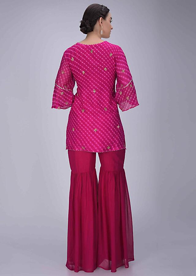 Magenta Suit In Georgette With Lehariya Print And Embroidery Work With Sharara Bottoms Online - Kalki Fashion