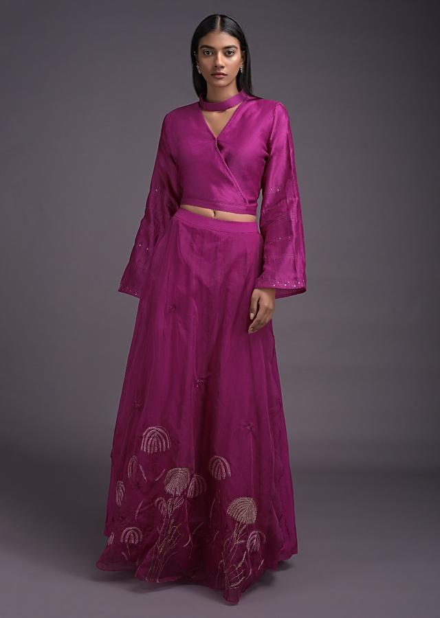 Magenta Lehenga And Crop Top With Embroidered Organza Layer Online - Kalki Fashion