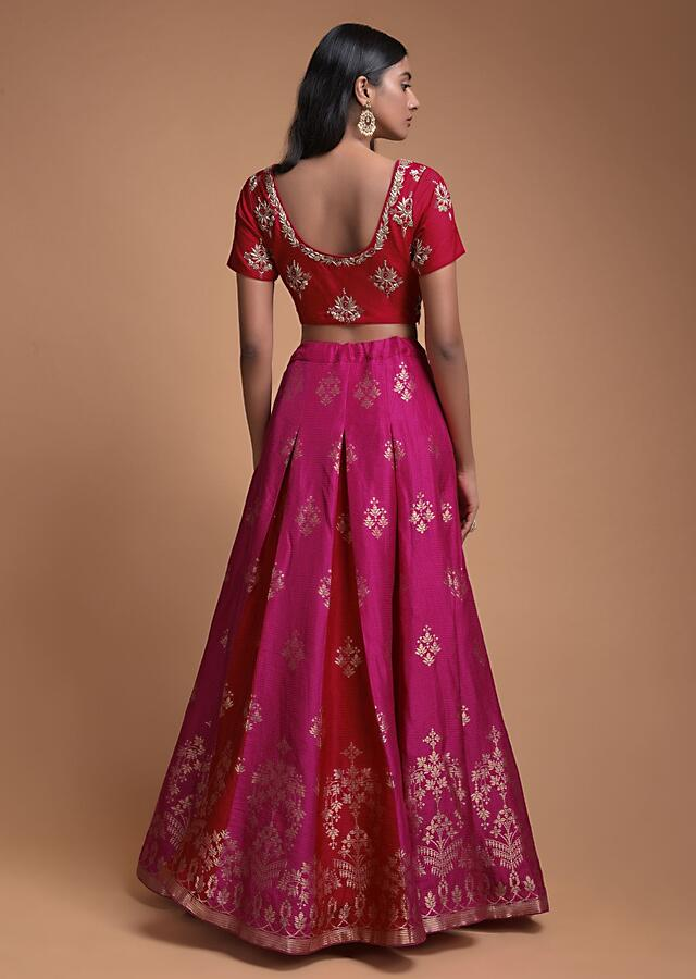 Magenta Lehenga In Brocade Silk With Red Godets And Weaved Floral Motifs Online - Kalki Fashion