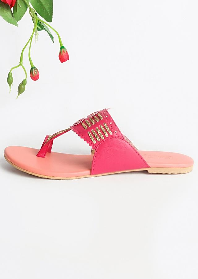 Magenta Multi Kolhapuri With Peach Base  By Sole House