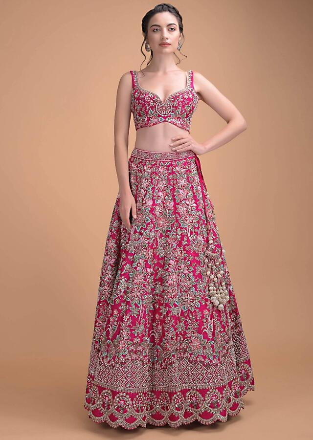 Magenta Pink Lehenga Choli In Raw Silk Hand Embroidered In Floral Pattern Online - Kalki Fashion