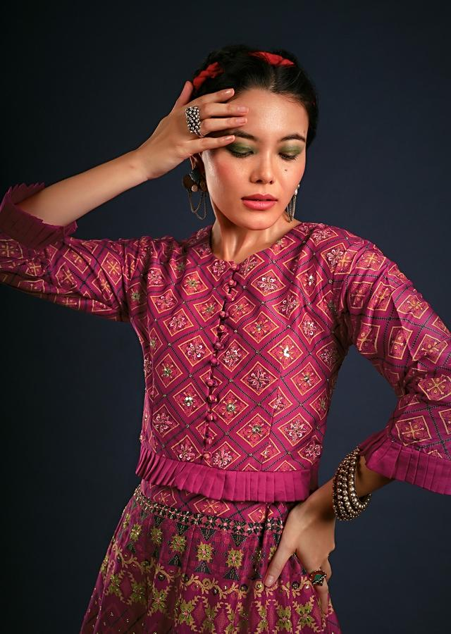 Magenta Pink Lehenga In Silk Blend With Patola Print And Zari Accents Along With A Stitched Blouse Online - Kalki Fashion