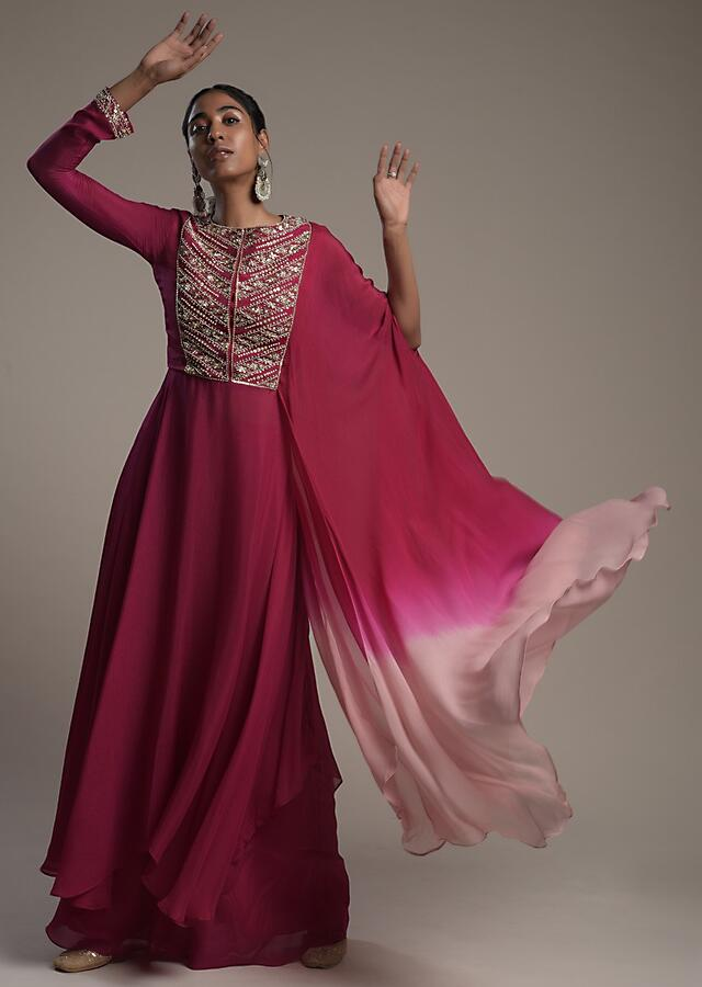 Magenta Pink Palazzo Suit In Crepe With A Fancy Shaded Drape On One Side And Zardosi Embroidered Yoke  Online - Kalki Fashion