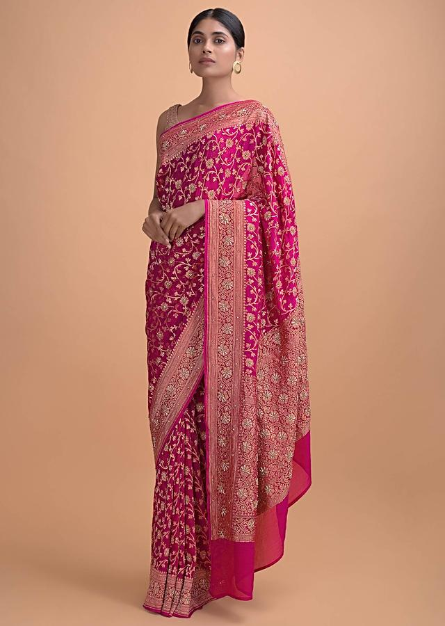 Magenta Pink Saree In Chiffon With Weaved Floral Jaal And Embellishments Online - Kalki Online