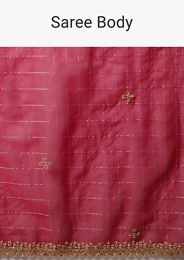 Magenta Pink Saree In Organza With Woven Checks And Cut Dana Embroidered Border Along With Unstitched Blouse Online - Kalki Fashion