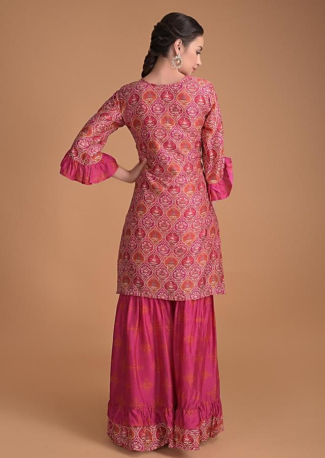 Magenta Pink Sharara Suit With Heritage Print And Embroidery Work Online - Kalki Fashion