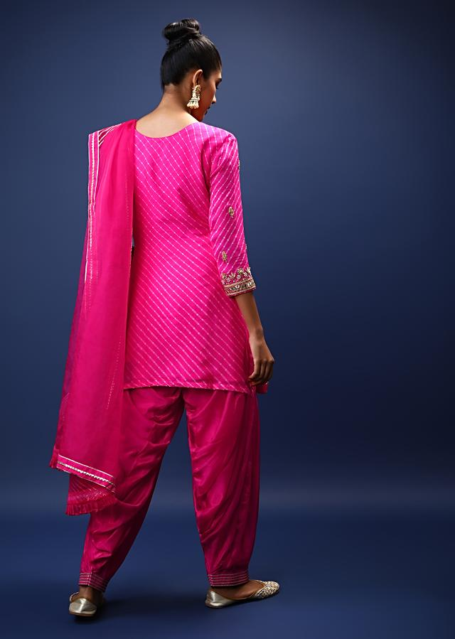 Magenta Salwar Suit In Georgette With Lehariya Print And Gotta Patti Embroidered Floral Design On The Yoke And Buttis Online - Kalki Fashion