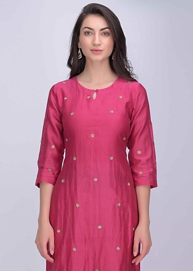 Magenta Straight Cut Sharara Suit In Cotton Silk Online - Kalki Fashion