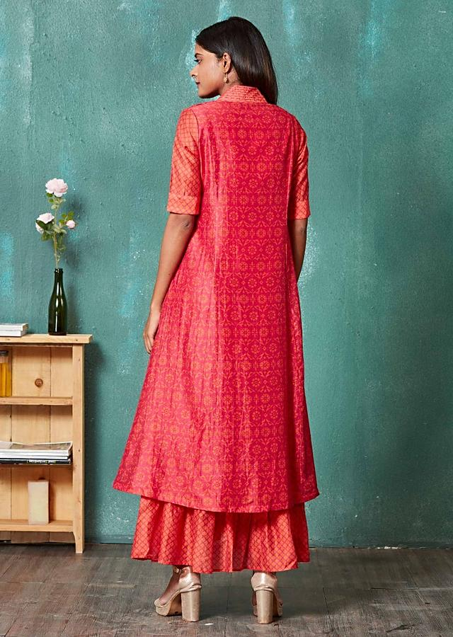 Magenta Tunic Dress With Moroccan And Floral Print Online - Kalki Fashion