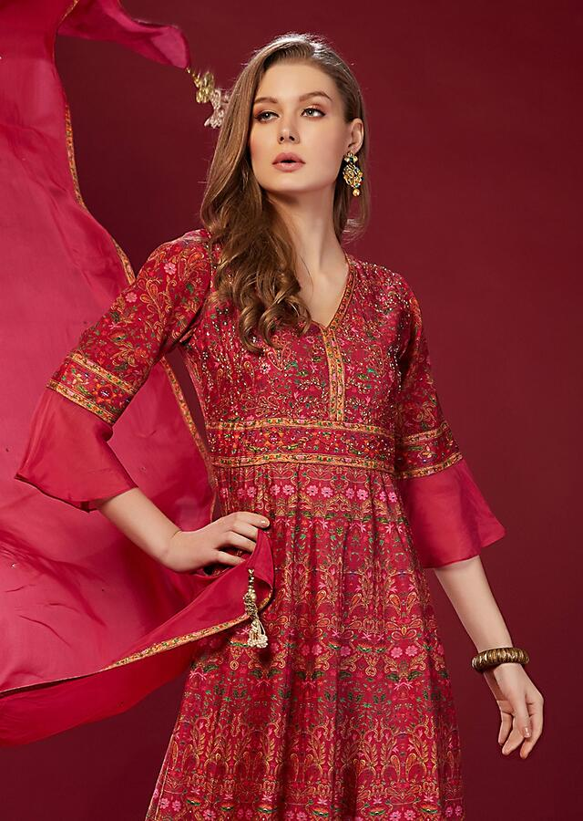 Magenta Suit With Digital Printed Ethnic Motifs And Ruffle Sleeves Online - Kalki Fashion
