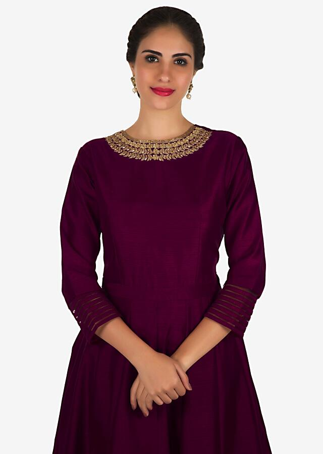 Magenta Anarkali Suit In Silk With A Banarasi Brocade Dupatta Adorned In Cutdana And Kundan Work Online - Kalki Fashion