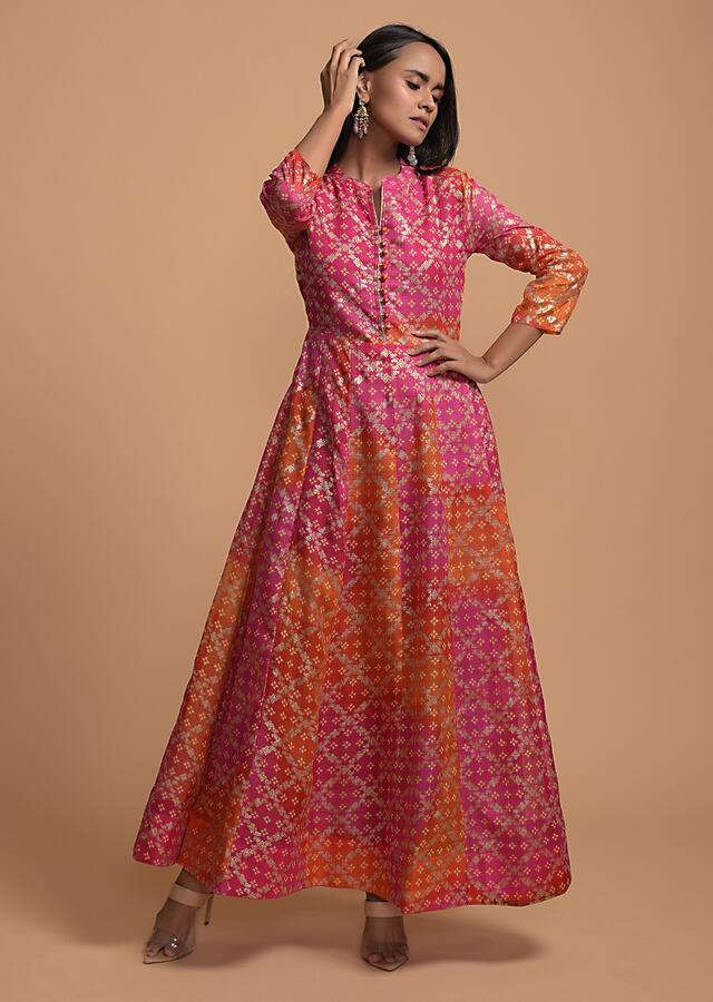 Magenta And Orange Shaded Anarkali Tunic In Silk Blend With Bandhani And Foil Printed Mesh Jaal Online - Kalki Fashion