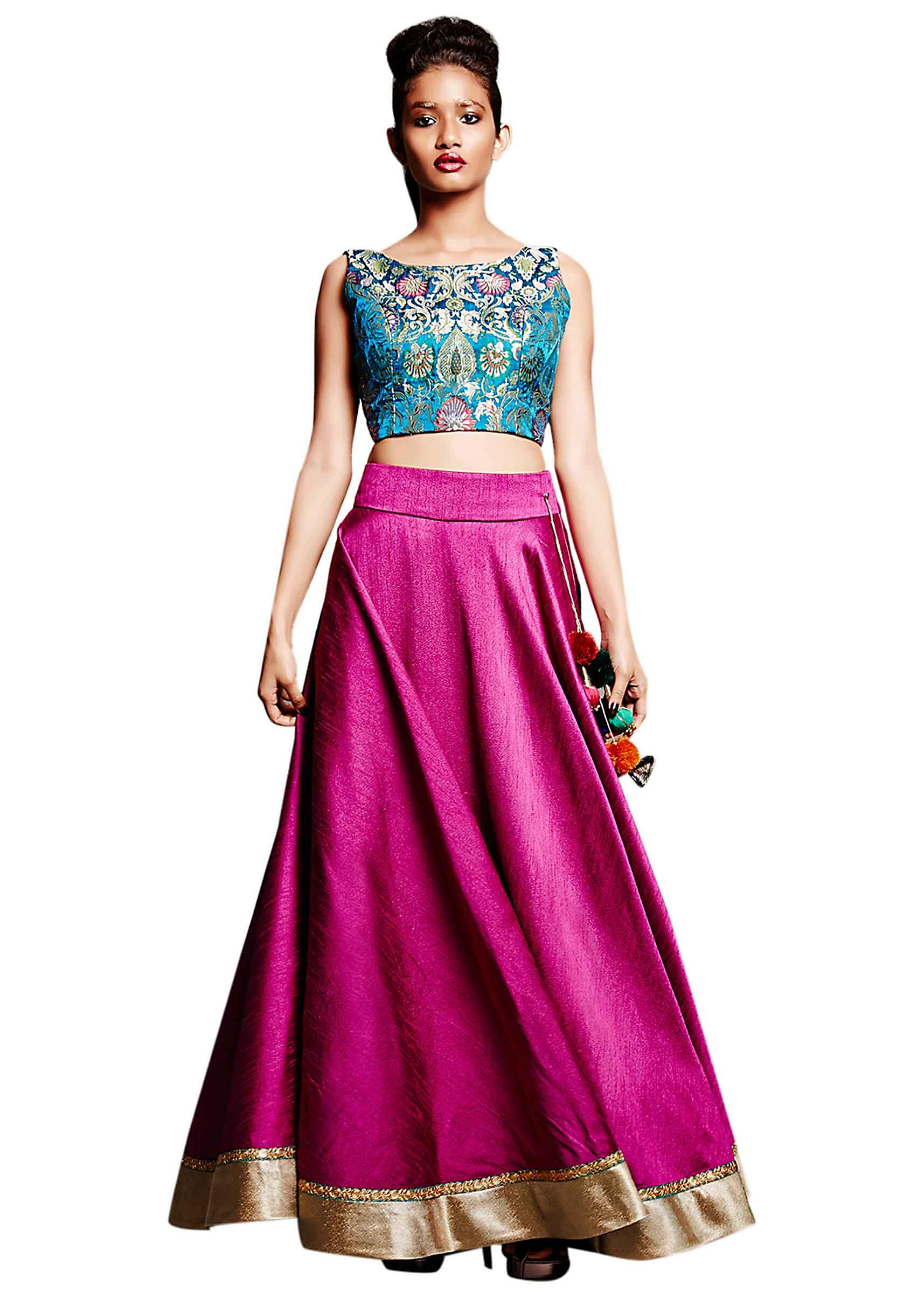 c9454741bd6 Magenta pink skirt matched with crop top only on Kalki
