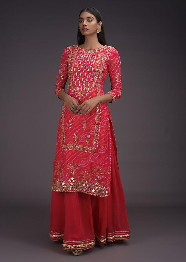 Mahogany Red Skirt And Kurta With Bandhani Print And Gotta Work In Floral Pattern Online - Kalki Fashion
