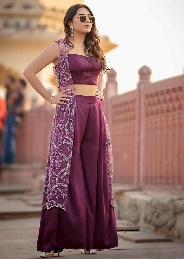 Mahogany Palazzo In Satin With Matching Crop Top And Heavy Embroidered Long Net Jacket Online - Kalki Fashion