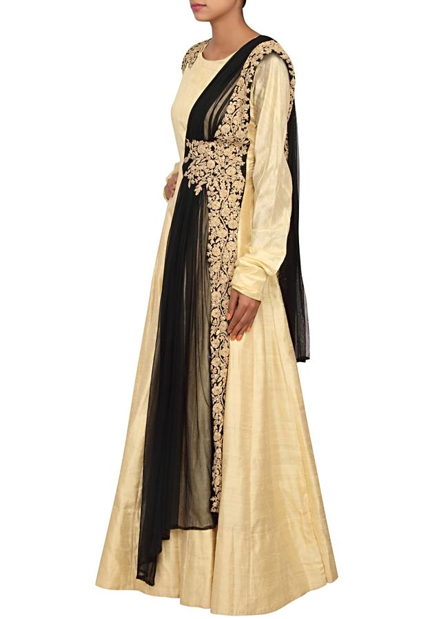 Maize anarkali featured in silk with black and gold patch zari emroidery only on Kalki