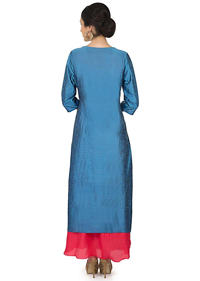Marina blue red long double layer kurti with resham embroidery in bug motif only on Kalki