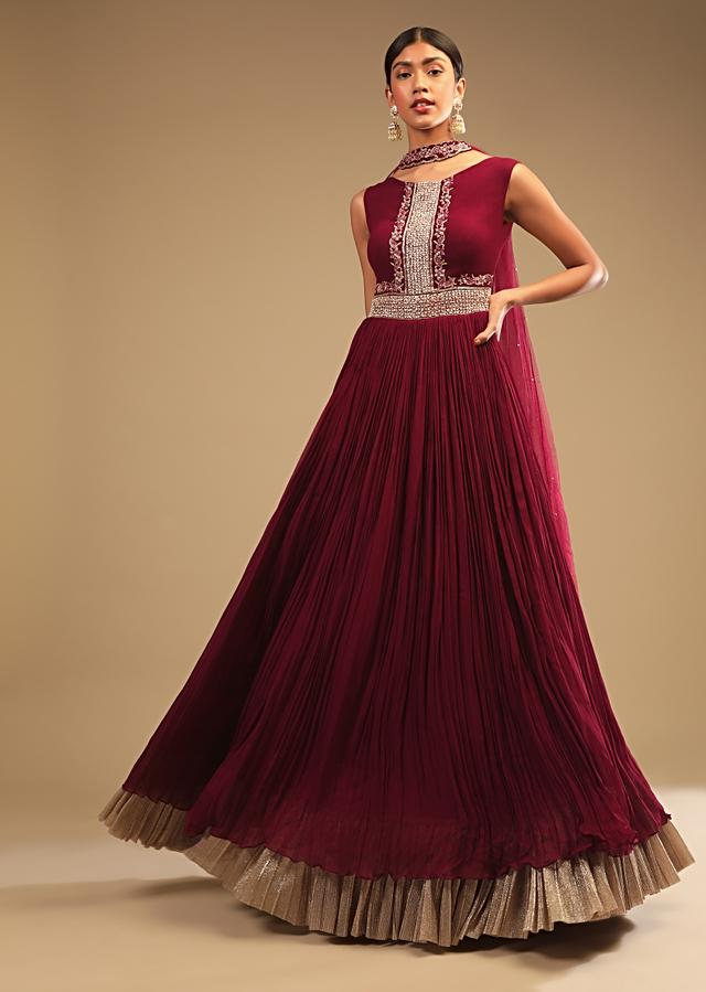 Maroon Anarkali Suit In Georgette With Cut Dana And Moti Embroidered Bodice And Metallic Frill On The Hemline Online - Kalki Fashion