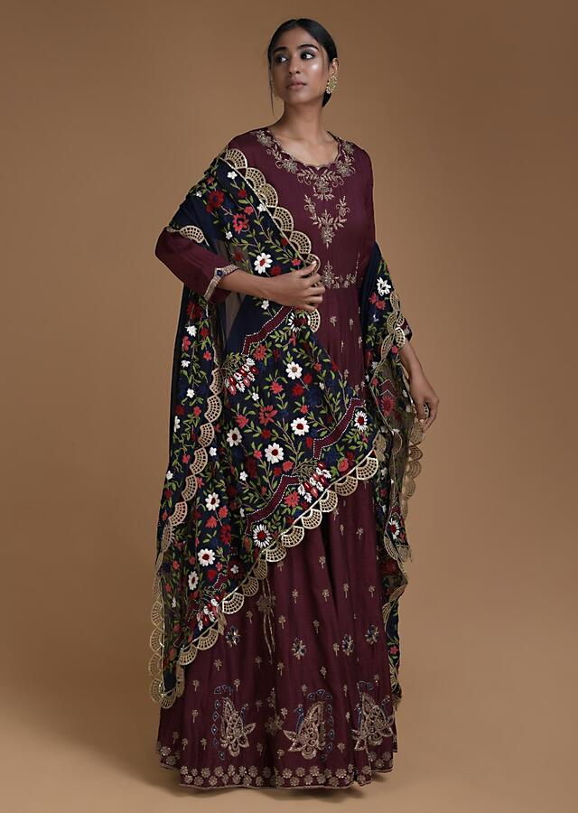 Maroon Anarkali Suit With Midnight Blue Thread Embroidered Dupatta Online - Kalki Fashion