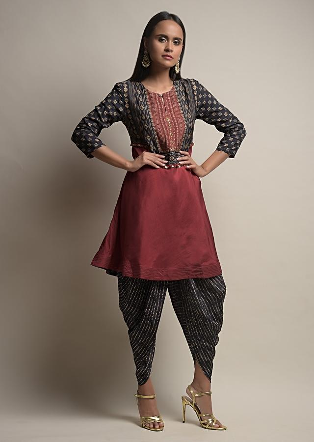 Maroon And Black Dhoti Suit In Silk Blend With Tie Dye Print And Golden Bead Accents Online - Kalki Fashion