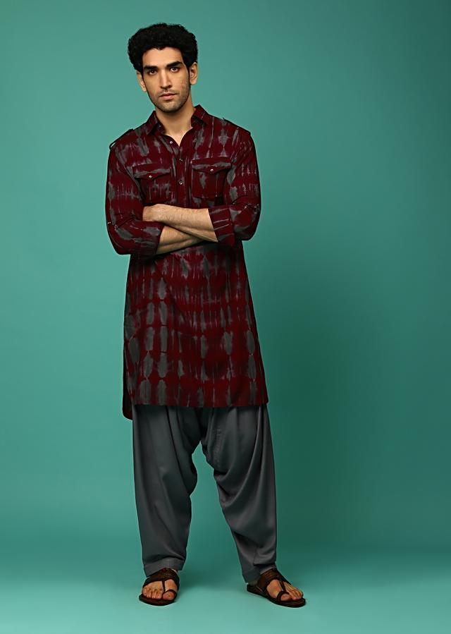Maroon And Grey Patiala Suit With Tie Dye Print And Pocket Detailing Online - Kalki Fashion
