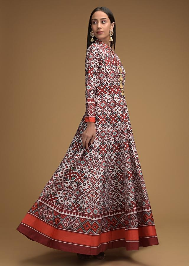 Maroon And White Anarkali Suit With Patola Printed Jaal And Maroon Tribal Printed Dupatta Online - Kalki Fashion